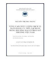 Luận văn thạc sĩ Nâng cao chất lượng dịch vụ Ngân hàng ưu tiên tại Ngân hàng thương mại cổ phần kỹ thương Việt Nam