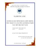 Luận văn Đánh giá bất bình đẳng giới trong thu nhập của người lao động ở khu vực đô thị Việt Nam
