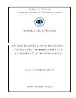 CÁC YẾU TỐ QUYẾT ĐỊNH SỰ THÀNH CÔNG HỢP TÁC CÔNG - TƯ TRONG LĨNH VỰC Y TẾ NGHIÊN CỨU VÙNG ĐÔNG NAM BỘ.PDF