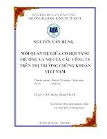 Luận văn thạc sĩ Mối quan hệ giữa cơ hội tăng trưởng và nợ của các Công ty trên TTCK Việt Nam