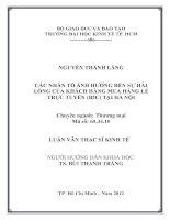 CÁC NHÂN TỐ ẢNH HƯỞNG ĐẾN SỰ HÀI LÒNG CỦA KHÁCH HÀNG MUA LẺ TRỰC TUYẾN (B2C) TẠI HÀ NỘI