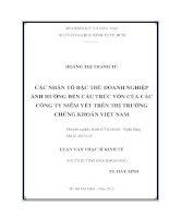 CÁC NHÂN TỐ ĐẶC THÙ DOANH NGHIỆP ẢNH HƯỞNG ĐẾN CẤU TRÚC VỐN CỦA CÁC CÔNG TY NIÊM YẾT TRÊN THỊ TRƯỜNG CHỨNG KHÓAN VIỆT NAM.PDF