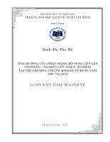 Luận văn thạc sĩ  Ảnh hưởng của phát hành bổ sung lên giá cổ phiếu - nghiên cứu thực nghiệm tại thị trường chứng khoán thành phố Hồ Chí Minh năm 2007 và 2010