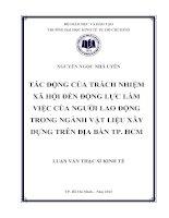 Tác động của trách nhiệm xã hội đến động lực làm việc của người lao động trong ngành vật liệu xây dựng trên địa bàn TP. Hồ Chí Minh
