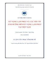 Kỳ vọng lạm phát và các yếu tố ảnh hưởng đến kỳ vọng lạm phát tại Việt Nam