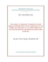 ỨNG DỤNG LÝ THUYẾT VỀ HÀNH VI CÓ KẾ HOẠCH (TPB) ĐẾ PHÂN TÍCH Ý ĐỊNH ĐẦU TƯ CỔ PHIẾU CỦA NHÀ ĐẦU TƯ CÁ NHÂN KHẢO SÁT TẠI TPHCM GIAI ĐOẠN ĐẦU NĂM 2012.PDF