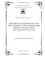 HOÀN THIỆN HỆ THỐNG KIỂM SOÁT NỘI BỘ ĐỐI VỚI NGHIỆP VỤ TÍN DỤNG TRONG NGÂN HÀNG THƯƠNG MẠI CỔ PHẦN XUẤT NHẬP KHẨU VIỆT NAM.PDF
