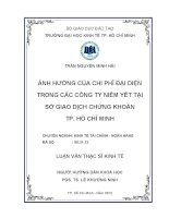 Luận văn thạc sĩ  Ảnh hưởng của chi phí đại diện trong các công ty niêm yết tại Sở giao dịch chứng khoán TP.Hồ Chí Minh