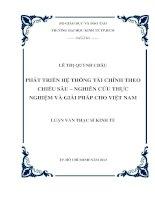 Luận văn thạc sĩ  Phát triển hệ thống tài chính theo chiều sâu - Nghiên cứu thực nghiệm và giải pháp cho Việt Nam