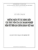 Luận văn thạc sĩ Những nhân tố tác động đến cấu trúc vốn của các doanh nghiệp niêm yết trên sàn chứng khoán Việt Nam
