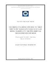 TÁC ĐỘNG CỦA DÒNG VỐN ĐẦU TƯ TRỰC TIẾP NƯỚC NGOÀI LÊN NĂNG SUẤT LAO ĐỘNG. NGHIÊN CỨU TRƯỜNG HỢP TẠI TPHCM.PDF