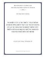 NGHIÊN CỨU CẤU TRÚC TÀI CHÍNH ẢNH HƯỞNG ĐẾN NỢ VAY NGÂN HÀNG CỦA CÁC DOANH NGHIỆP NIÊM YẾT TRÊN SỞ GIAO DỊCH CHỨNG KHOÁN THÀNH PHỐ HỒ CHÍ MINH.PDF