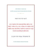 CÁC NHÂN TỐ ẢNH HƯỞNG ĐẾN CẤU TRÚC VỐN CỦA CÁC CÔNG TY NIÊM YẾT TRÊN THỊ TRƯỜNG CHỨNG KHOÁN VIỆT NAM GIAI ĐOẠN 2009-2011.PDF