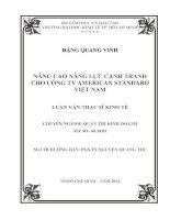 Luận văn thạc sĩ Nâng cao năng lực cạnh tranh cho Công ty American Standard Việt Nam