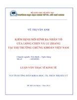Kiểm định mô hình ba nhân tố của Long Chen và Lu Zhang tại TTCK Việt Nam