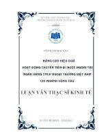 Luận văn thạc sĩ Nâng cao hiệu quả hoạt động chuyển tiền đi nước ngoài tại Ngân hàng TMCP Ngoại thương Việt Nam - Chi nhánh Vũng Tàu