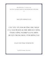 CÁC YẾU TỐ ẢNH HƯỞNG THU NHẬP CỦA NGƯỜI DÂN BỊ THU HỒI ĐẤT SỐNG Ở KHU CÔNG NGHIỆP GIANG ĐIỀN HUYỆN TRẢNG BOM, TỈNH ĐỒNG NAI.PDF