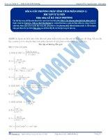 Các phương pháp tính Tích phân - Bài tập tự luyện Toán 12 - P1
