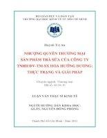 Nhượng quyền thương mại sản phẩm trà sữa của công ty TNHH DV-TM-SX hoa Hướng Dương
