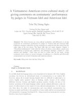 A Vietnamese-American cross cultural study of giving comments on contestants' performance by judges in Vietnam Idol and American Idol