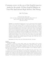 Common errors in the use of the English passive made by the grade 10 Non-English Majors at Tran Phu Specialised High School, Hai Phong