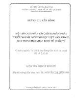 MỘT SỐ GIẢI PHÁP TÀI CHÍNH NHẰM PHÁT TRIỂN NGÀNH CÔNG NGHIỆP VIỆT NAM TRONG QUÁ TRÌNH HỘI NHẬP KINH TẾ QUỐC TẾ