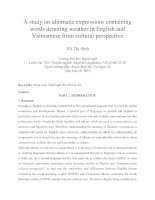 A study on idiomatic expressions containing words denoting weather in English and Vietnamese from cultural perspective
