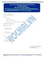 Các phương pháp tính Tích phân - Tài liệu Toán 12 - P1