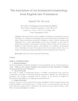 The translation of environmental terminology from English into Vietnamese
