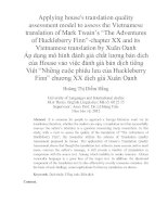 "Applying house's translation quality assessment model to assess the Vietnamese translation of Mark Twain's ""The Adventures of Huckleberry Finn""-chapter XX"