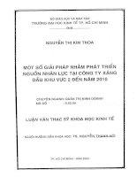 MỘT SỐ GIẢI PHÁP NHẰM PHÁT TRIỂN NGUỒN NHÂN LỰC TẠI CÔNG TY XĂNG DẦU KHU VỰC 2 ĐẾN NĂM 2010