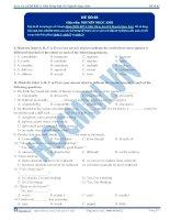 Đề thi môn Tiếng Anh - Khóa học LTĐH KIT-2 (Cô Nguyễn Ngọc Anh) - Đề 3