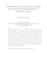 The Syntactic and Lexical Features of English and Vietnamese Newspaper Headlines A Contrastive Analysis