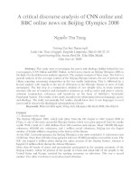 A critical discourse analysis of CNN online and BBC online news on Beijing Olympics 2008
