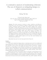 A contrastive analysis of moderating criticism The use of disjuncts as mitigating hedges in verbal communication