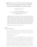 Nghiên cứu cơ sở lịch sử, xã hội và tính mới của việc sử dụng ngôn ngữ trong tác phẩm 'Kiêu hãnh và định kiến' của Jane Austen
