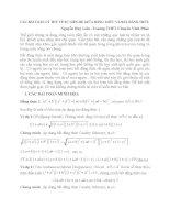 CÁC BÀI TOÁN LÝ THÚ VỀ SỰ LIÊN HỆ GIỮA ĐẲNG THỨC VÀ BẤT ĐẲNG THỨC