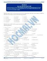 Đề thi môn Tiếng Anh - Khóa học LTĐH KIT-2 (Cô Nguyễn Ngọc Anh) - Đề 10