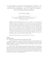 A descriptive analysis of linguistic features of advertising language used in English slogans for food and drink products