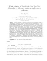 Code-mixing of English in Hoa Hoc Tro Magazine in Vietnam patterns and readers' attitudes