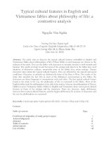 Typical cultural features in English and Vietnamese fables about philosophy of life a contrastive analysis