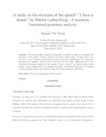 "A study on the structure of the speech "" I have a dream"" by Martin Luther King A systemic functional grammar analysis"