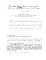 Discourse Markers in Oral Interaction by Third-year ULIS Mainstream English Majors