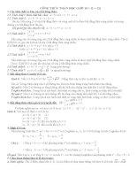 Công thức toán học lớp 10, 11, 12