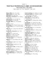 TỪ VỰNG TIẾNG ANH NGÀNH MAY - PHẦN 4 NGUYÊN PHỤ LIỆU - PART 4 TEXTILE MATERIALS AND ACCESSORIES NGUYÊN PHỤ LIỆU MAY