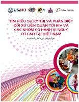 Một số bài tập chọn lọc tìm hiểu sự kỳ thị và phân biệt đối xử liên quan tới HIV và các nhóm có hành vi nguy cơ cao tại Việt Nam