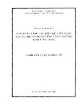 GIẢI PHÁP NÂNG CAO HIỆU QUẢ TÍN DỤNG TẠI CHI NHÁNH NGÂN HÀNG CÔNG THƯƠNG TỈNH VĨNH LONG