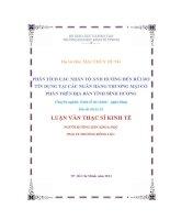 PHÂN TÍCH CÁC NHÂN TỐ ẢNH HƯỞNG ĐẾN RỦI RO TÍN DỤNG TẠI CÁC NGÂN HÀNG THƯƠNG MẠI CỔ PHẦN TRÊN ĐỊA BÀN TỈNH BÌNH DƯƠNG.PDF