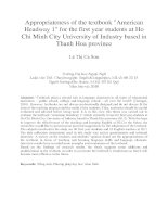 Appropriateness of the textbook American Headway 1 for the first year students at Ho Chi Minh City University of Industry based in Thanh Hoa province.PDF