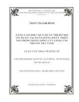 NÂNG CAO HIỆU QUẢ QUẢN TRỊ RỦI RO TÍN DỤNG TẠI NGÂN HÀNG PHÁT TRIỂN NHÀ ĐỒNG BẰNG SÔNG CỬU LONG CHI NHÁNH TRÀ VINH